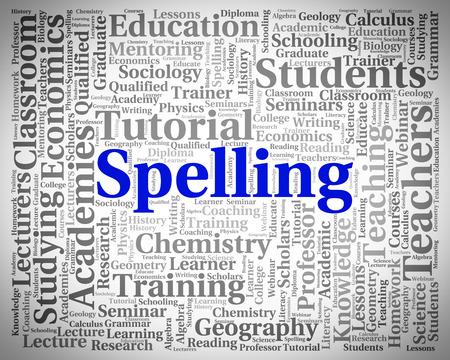 scrawl: Ortografía Palabra Indicando Spellings escribir y Guión