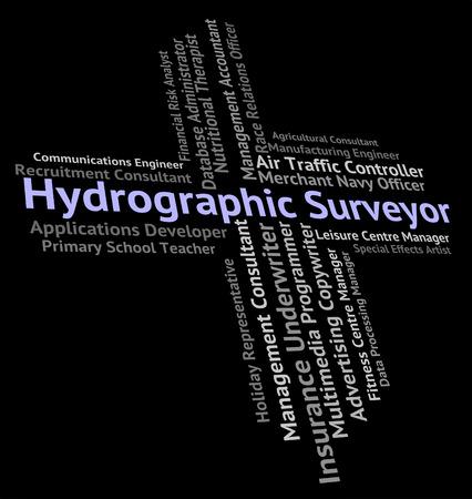topógrafo: Topógrafo hidrográfico Indicando Medidor de coches y Posición Foto de archivo