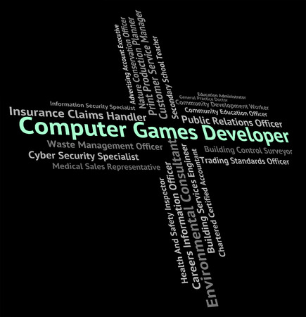 computer games: Computer Games Developer Indicating Play Time And Recreation Stock Photo
