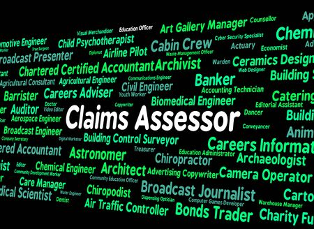 assessed: Claims Assessor Showing Hire Recruitment And Claiming Stock Photo