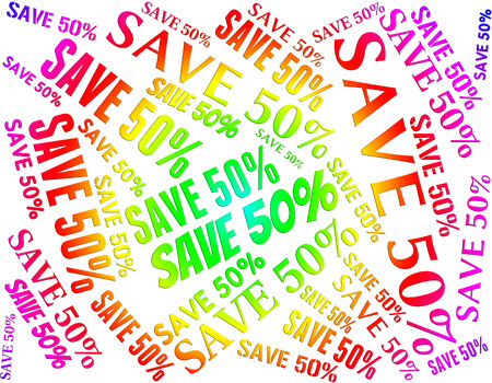 Save Fifty Percent Meaning Sale Discounts And Sales
