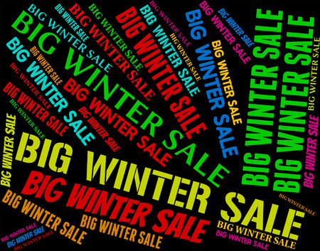 closeout: Big Winter Sale Indicating Clearance Closeout And Retail