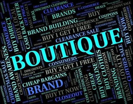 merchandiser: Boutique Word Showing Commercial Activity And Stores Stock Photo