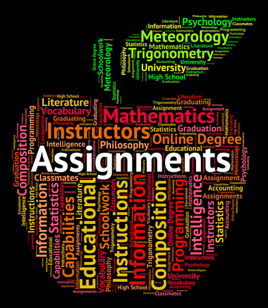 assignments: Assignments Word Representing Exercise Homework And Projects Stock Photo