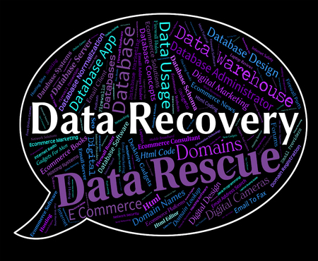 data recovery: Data Recovery Meaning Getting Back And Retrieve Stock Photo