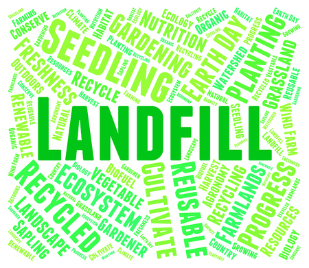 dispose: Landfill Word Indicating Refuse Heap And Waste Stock Photo
