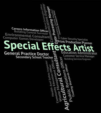 efectos especiales: Artista Especial Efectos Mostrando Trabajo Posici�n Y Dise�ador Foto de archivo