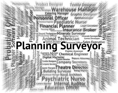 topografo: Planificaci�n Surveyor Indicando Posici�n reclutamiento y Palabra
