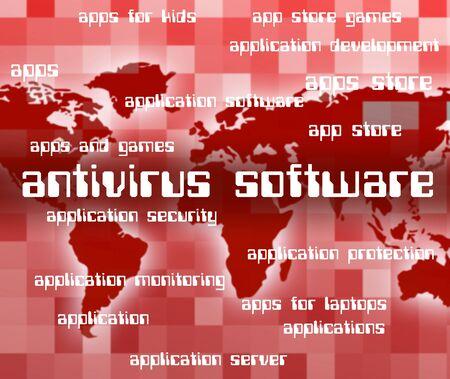 antivirus software: Antivirus Software Showing Shielding Threat And Word