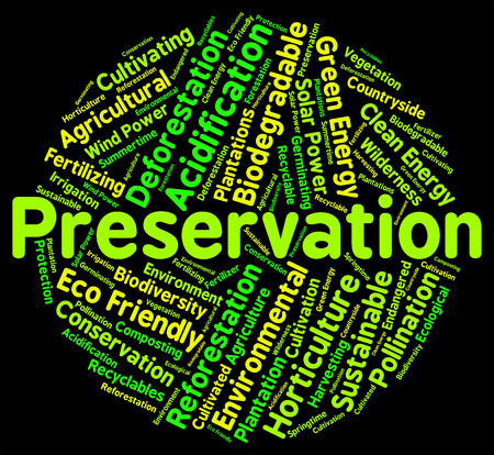 earth friendly: Preservation Word Meaning Earth Friendly And Environment Stock Photo