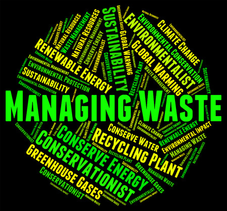 managing waste: Waste Management Representing Word Garbage And Processing Stock Photo