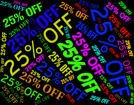 promotional: Twenty Five Percent Meaning Sale Bargain And Promotional
