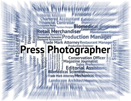investigative: Press Photographer Indicating Copy Editor And Jobs Stock Photo