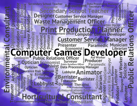 computer games: Computer Games Developer Representing Hiring Position And Play Stock Photo