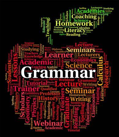 semantics: Grammar Word Representing Rules Of Language And Study Stock Photo