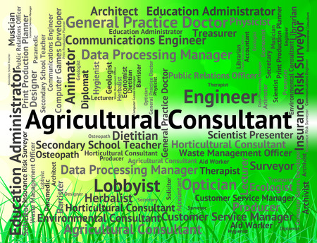 advisers: Agricultural Consultant Indicating Work Text And Authority Stock Photo
