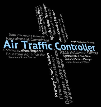 traffic controller: Air Traffic Controller Showing Employee Occupation And Hire Stock Photo
