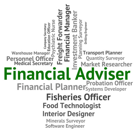 aide: Financial Adviser Indicating Advisor Trading And Guide Stock Photo