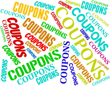 discounted: Coupons Words Indicating Saving Money And Discounted Stock Photo
