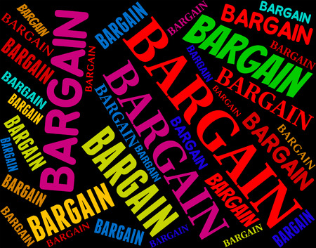 bargains: Bargain Word Meaning Bargains Text And Promotion Stock Photo