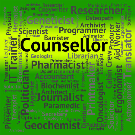 counsellor: Counsellor Job Indicating Coach Work And Recruitment Stock Photo