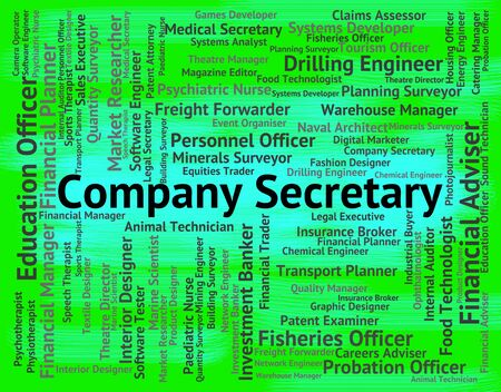 secretarial: Company Secretary Showing Clerical Assistant And Word Stock Photo