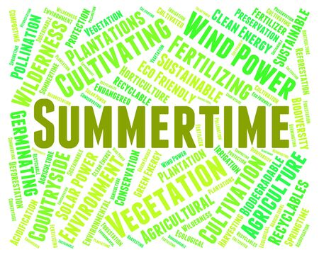 midsummer: Summertime Word Indicating Hot Weather And Warm Stock Photo