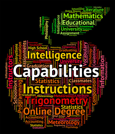 aptitude: Capabilities Word Showing Words Aptitude And Skilfulness Stock Photo