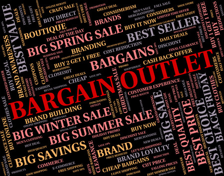 outlet store: Bargain Outlet Showing Store Clearance And Bargains Stock Photo
