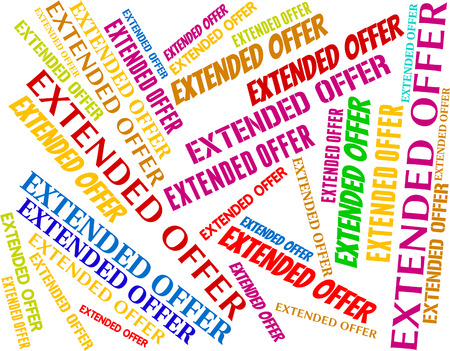 continued: Extended Offer Meaning Clearance Closeout And Bargain Stock Photo