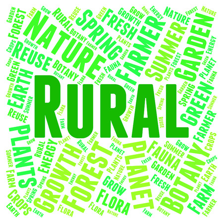 countrified: Rural Word Representing Non Urban And Text