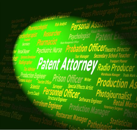 permit: Patent Attorney Indicating Legal Executive And Permit Stock Photo