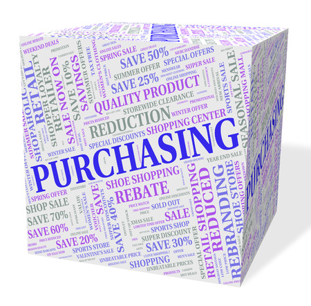 purchasers: Purchasing Cube Showing Commerce Buyer And Buying Stock Photo