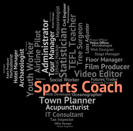 sports coach: Sports Coach Meaning Physical Recreation And Occupation Stock Photo