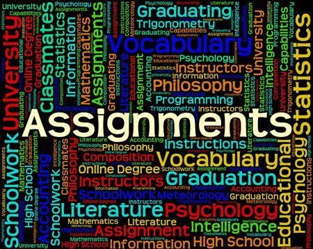assignments: Assignments Word Showing Exercise Text And Words