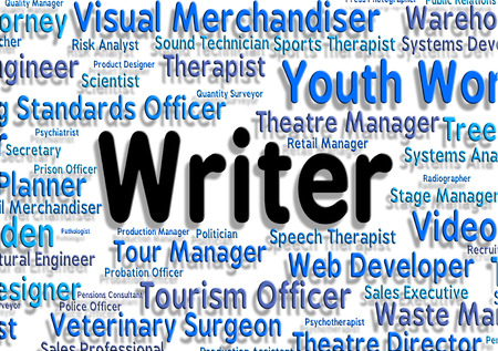 scribe: Writer Job Representing Recruitment Hiring And Career Stock Photo