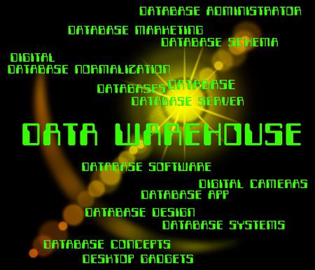 data warehouse: Data Warehouse Significado Storehouse Bytes y trastero Foto de archivo