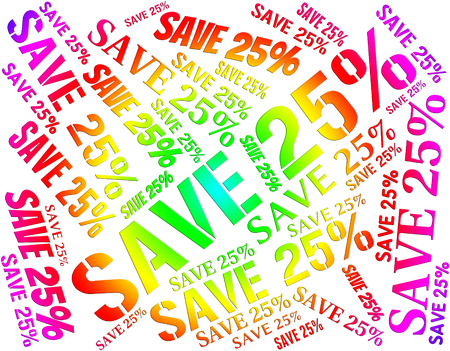 twenty five: Twenty Five Percent Representing Retail Discounts And Bargain