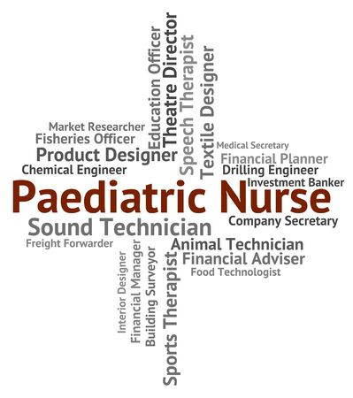 matron: Paediatric Nurse Showing Nurses Caregiver And Recruitment Stock Photo