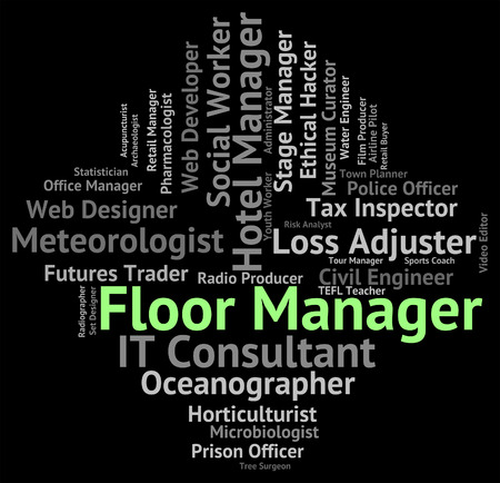 overseer: Floor Manager Showing Management Head And Text Stock Photo