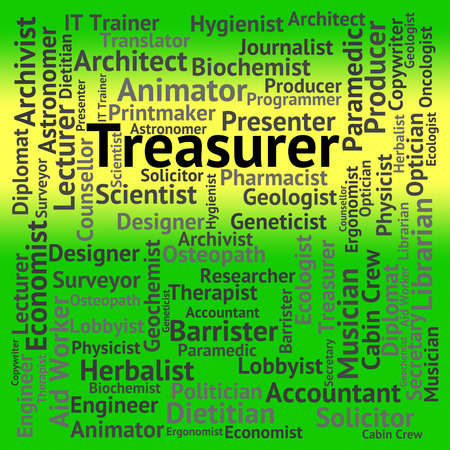 treasurer: Treasurer Job Showing Employment Words And Occupations Stock Photo