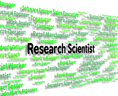 investigador cientifico: Significado cient�fico de la investigaci�n y recopilaci�n de datos de texto Foto de archivo
