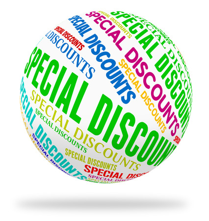 noteworthy: Special Discounts Representing Bargains Words And Promotional Stock Photo