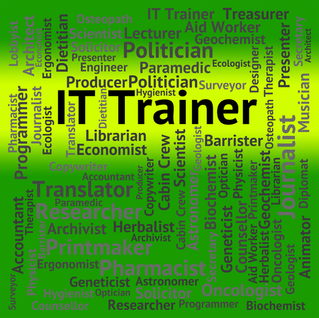 information technology: It Trainer Showing Information Technology And Teaching Stock Photo
