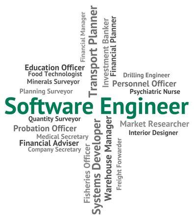 shareware: Software Engineer Representing Engineers Shareware And Work Stock Photo