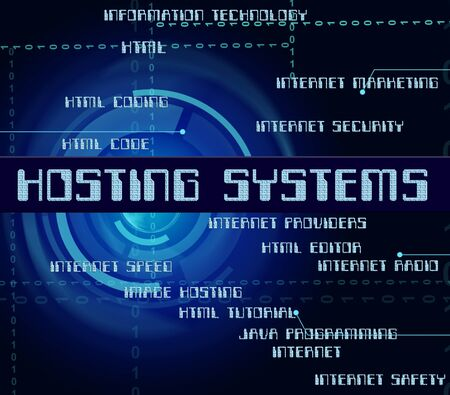 webhost: Hosting Systems Representing Technology Word And Network Stock Photo