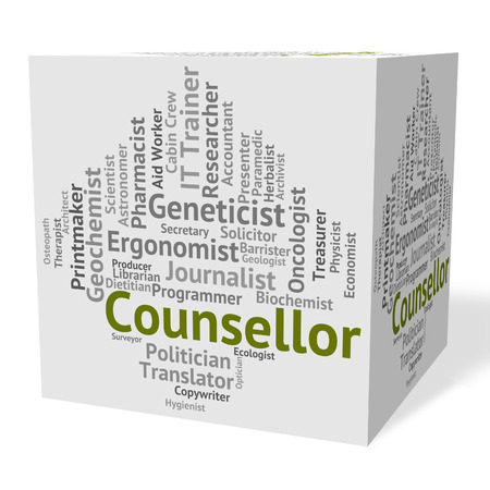 counsellor: Counsellor Job Indicating Specialist Therapist And Teacher Stock Photo