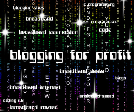earns: Blogging For Profit Indicating Lucrative Income And Online Stock Photo