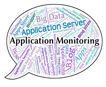 observer: Application Monitoring Representing Monitors Word And Observer Stock Photo