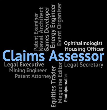 assessed: Claims Assessor Indicating Reviewer Auditor And Employment Stock Photo